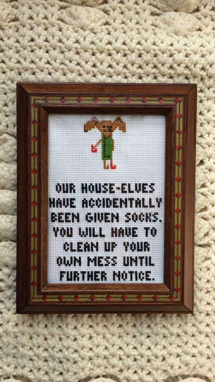 Framed 5x7 House Elf by BStitchesByTaylor on Etsy https://www.etsy.com/listing/497461783/framed-5x7-house-elf