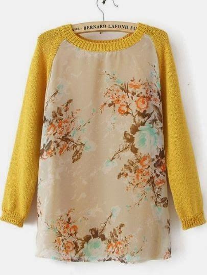 Yellow Long Sleeve Round Neck Floral Mesh Yoke Sweater