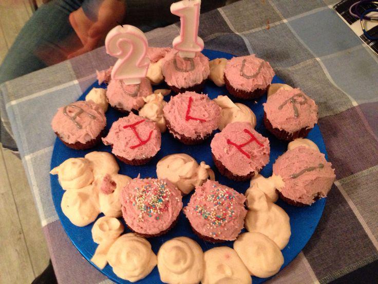Happy birthday cupcake and ganache