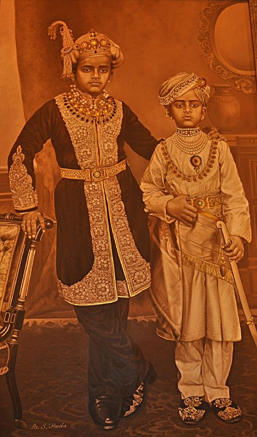 Painting by Bhim Singh Hada hanging in the lobby, depicting two members of the royal family of Mysore, the Wadiyar brothers
