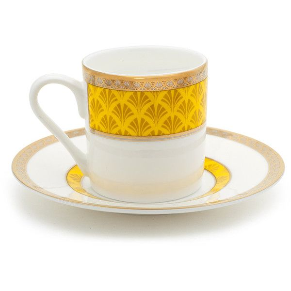 Mrs Moore's Vintage Store Harley Coffee Cup & Saucer - Yellow ($64) ❤ liked on Polyvore featuring home, kitchen & dining, drinkware, yellow, espresso coffee cups and saucers, coffee cup and saucer, espresso cups and saucers y coffee cup saucer