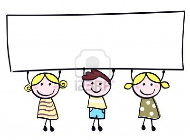 Happy cute little girls and boy holding empty blank banner - cartoon illustration.