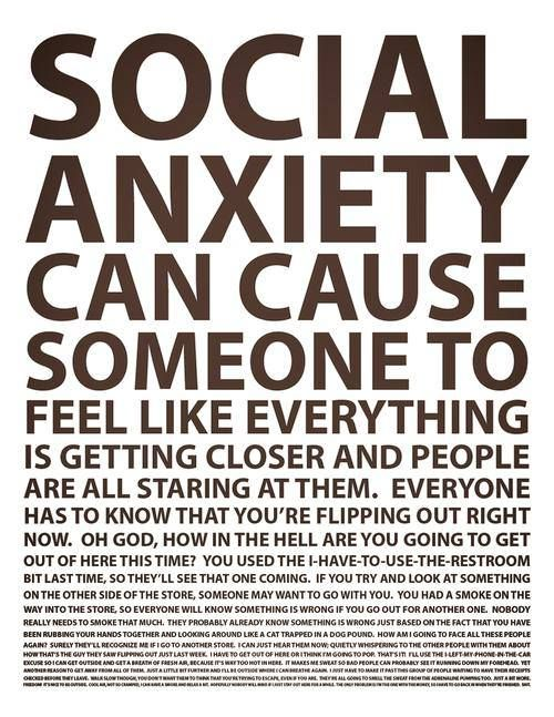 Social anxiety can cause someone to feel like... #Panic #PanicAttacks #SAD #SocialAnxiety #GAD #GeneralAnxiety #PTSD #PostTraumaticStress #OCD #ObsessiveCompulsive #MentalHealth #MentalIllness #DisabilityNinjas
