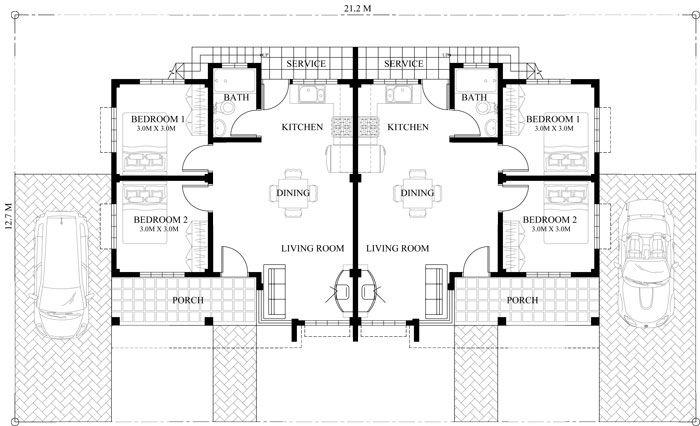 duplex floor plan with roof deck