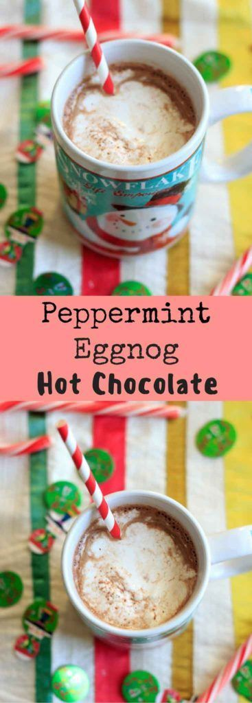 Peppermint eggnog hot chocolate using homemade (cooked) eggnog ...