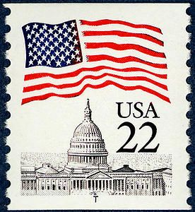 American flag over the U.S. Capitol, Washington, D.C. Issued in 1985.
