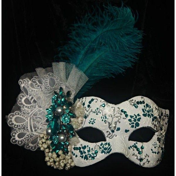 Hand made masquerade mask! SO PRETTY! Masquerade masks! PRETTY ❤ liked on Polyvore featuring masks e masquerade
