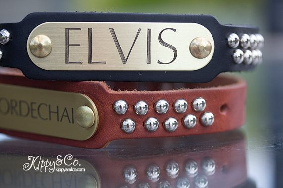 Leather Studded Dog Collar, Personalized Leather Dog Collar, Engraved Name Dog Collar on Etsy, $35.00