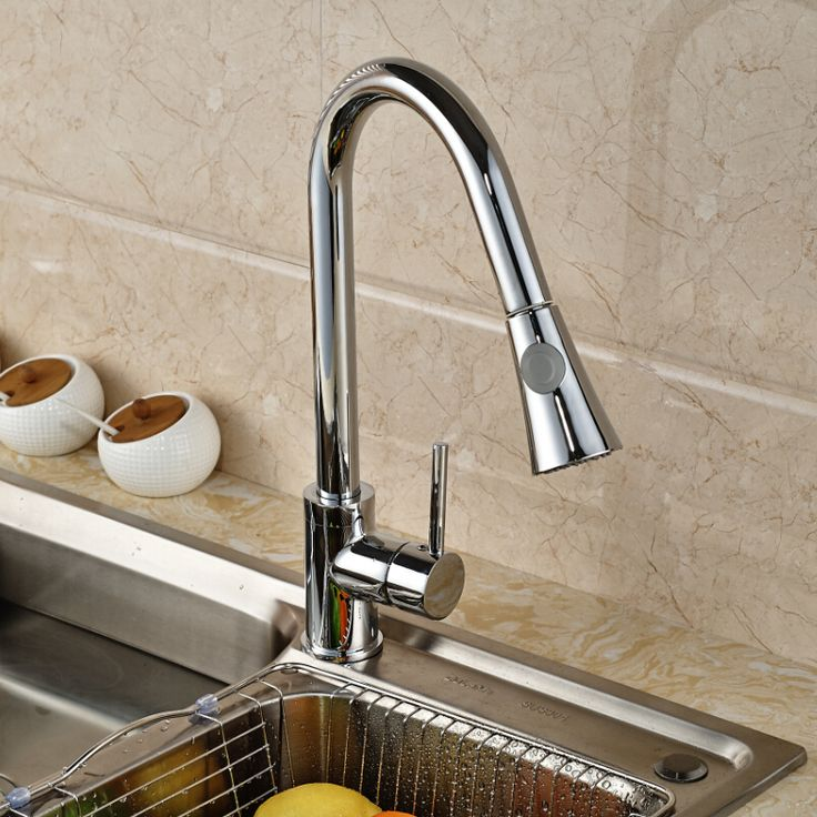 $50.40 | Buy Chrome Brass Rotation Dual Sprayer Kitchen Sink Faucet Deck Mount Kitchen Water Taps Pull Out hot and cold water from Reliable taps plastic suppliers on rozin Official Store