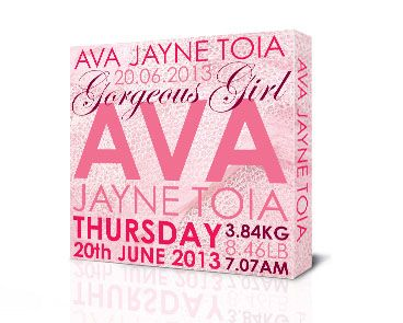 Our personalised birth announcement canvases make an ideal gift for the birth of a new baby, or a unique Christening gift, and also a stylish piece of art for the babies nursery. Our personalised birth announcements are unique and personal to the child it is made for and make a special keepsake for years to come. The design comprises of the child's names, date of birth, time of birth, day of birth, & birth weight.