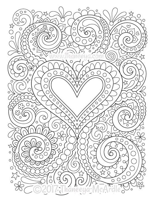 Abstract Heart Coloring Page by Thaneeya McArdle | Heart ...