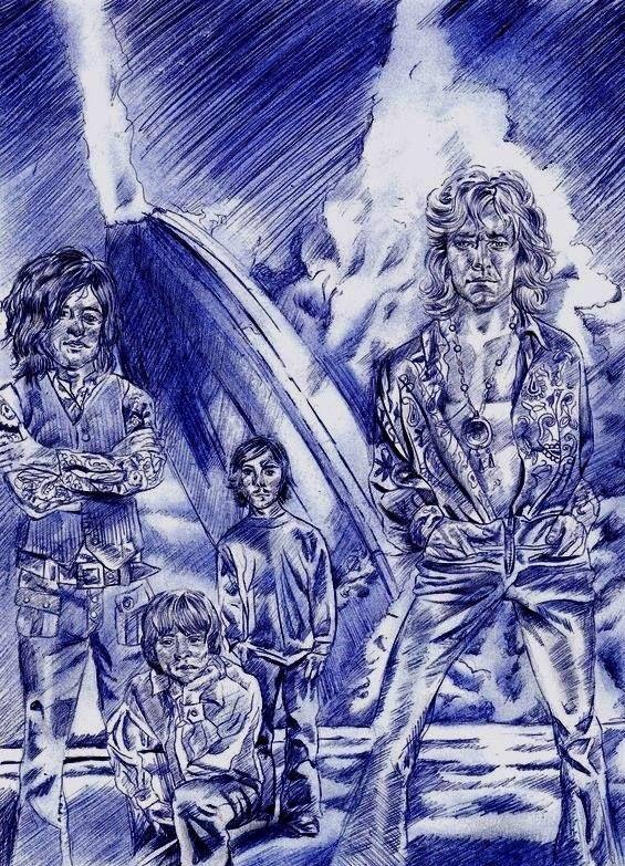Led Zeppelin ballpoint pen drawin