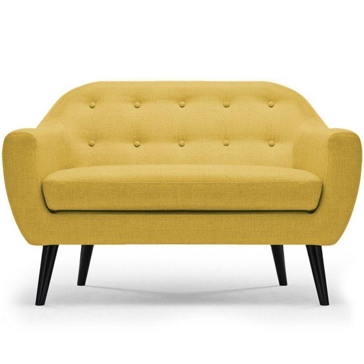 Sofa Nórdico Fidelio 2 plazas tela efecto lino amarillo