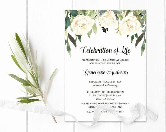 Memorial Service Invitations Templates New Celebration Of Life Invitation Template Funeral Memorial Service Invitation Funeral Invitation Invitation Template