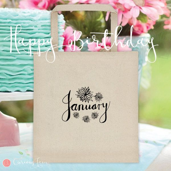 January Birthday Tote Bag – 100% Cotton – Printed Front and Back #fashion #january #birthday #happybirthday #tote #totebag #printed #pencildrawing