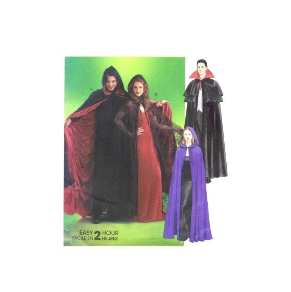 Misses and Mens Witch Vampire Dracula Gothic Cape Halloween Costumes McCalls 4139 Sewing Pattern