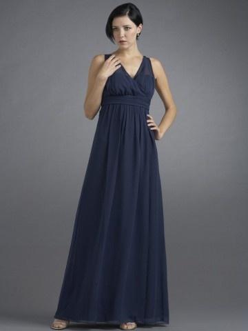 Simple long navy bridesmaid dress