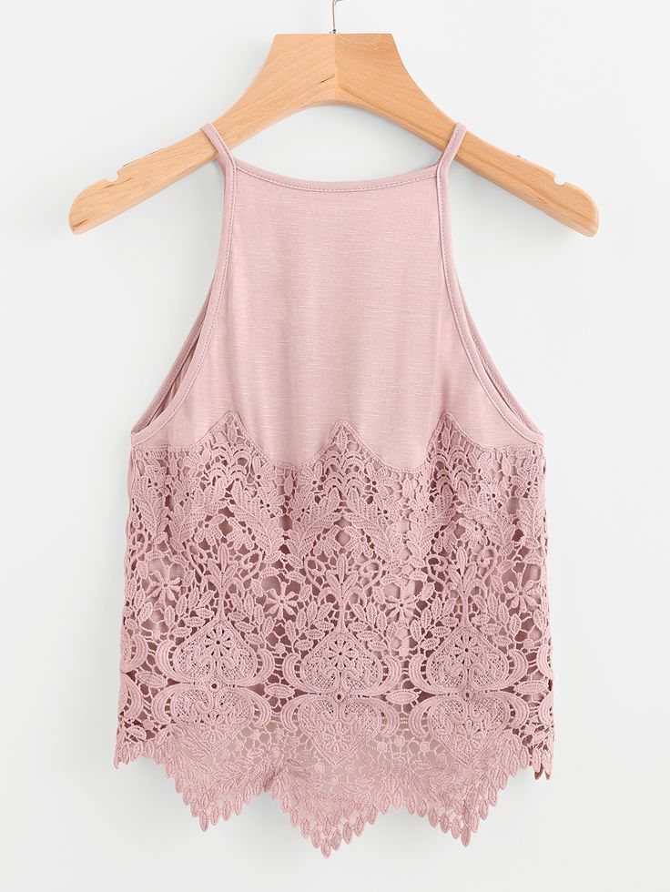 Shop Contrast Crochet Lace Dip Hem Cami Top online. SheIn offers Contrast Crochet Lace Dip Hem Cami Top & more to fit your fashionable needs.