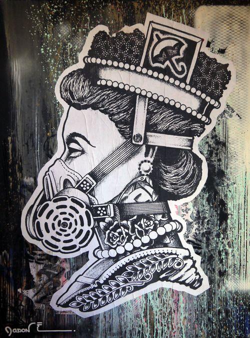 "Jason E   ""Untitled""  36 x 48  acrylic, aerosol and paste on self-constructed canvas"