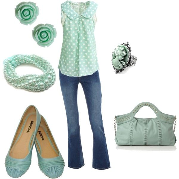 Sweet Pastel Green Outfit: Polka Dots, Mint Green, Pastel Cerveza Tennis, Fashion Style, Color, Sweet Pastel, Pastel Fashion, Pastel Green, Spring Outfits