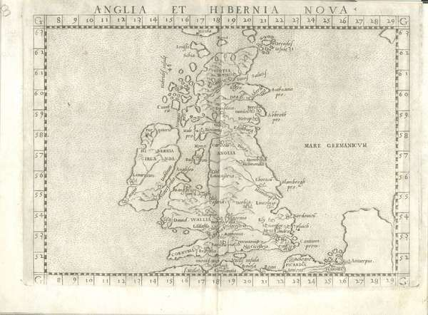 LOT:567 | Girolama Ruscelli, Venice 1574 -1599 Anglia et Hibernia Nova Engraving, 210 x 300mm sheet Italian text verso