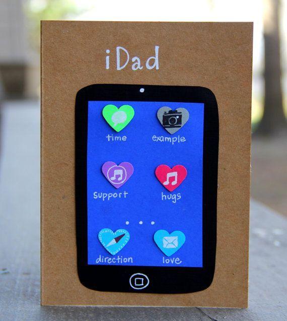 Cartão com desenho de iPad e aplicativos que descrevem as qualidades de um bom pai.