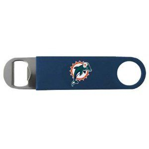 Miami Dolphins Bottle Opener by Boelter. Save 50 Off!. $4.99. 7-inch metal longneck design can survive even the wildest party. Officially licensed by the NFL. Professional bartender look and feel. Want to be the ultimate host at your next Miami Dolphins viewing party? Start by sporting Dolphins pride while perfecting the role of bartender with this Miami Dolphins Bottle Opener. Featuring a vibrantly-colored Miami Dolphins logo on vinyl covering, this Miami Dolphins Bottle O...