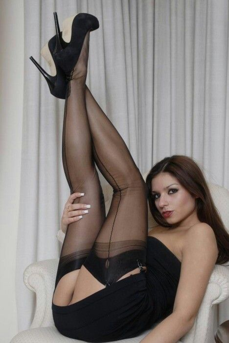 Dick black seamed pantyhose she hot