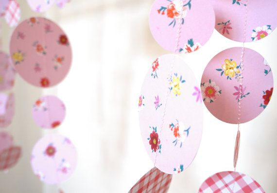 Paper Garland Paper Decoration Red en Pink Bunting by LilyRazz