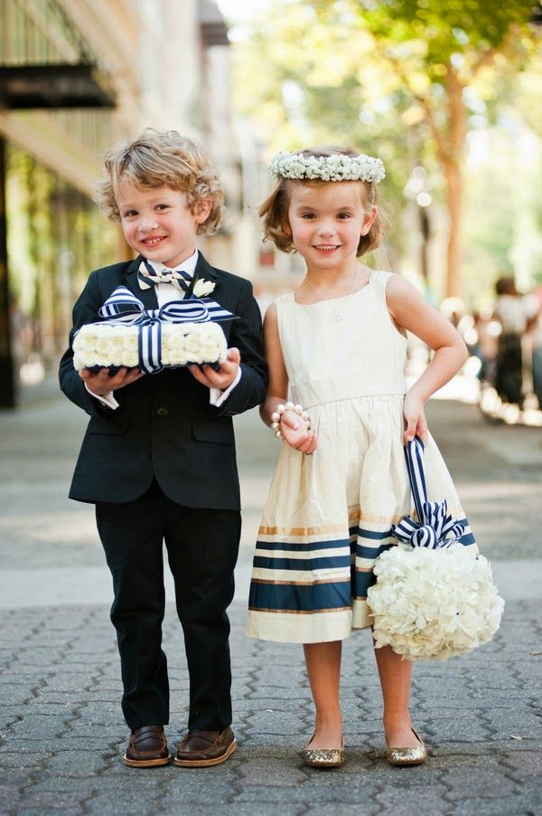 Nautical Ring Bearer and Flower Girl l Beach Wedding Inspirations l www.CarolinaDesigns.com