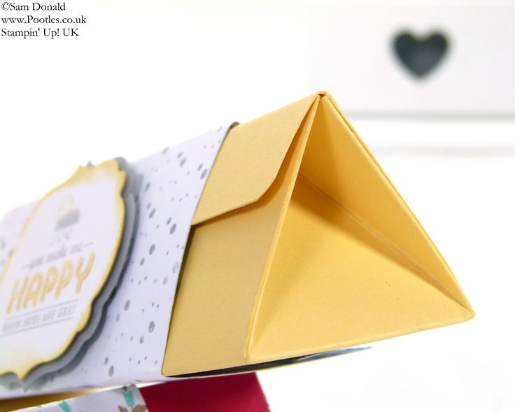 Stampin' Up! UK 7inch (18cm)Triangular Box Tutorial Only 32days left of Sale A Bration 2014... Well this gorgeous box came about because I wanted to make a