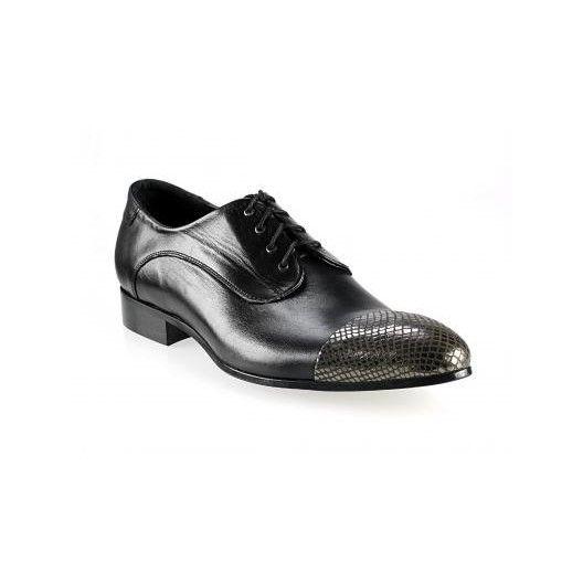 Pánske kožené extravagantné topánky lesklé čierne - fashionday.eu