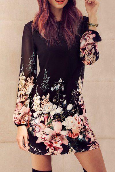 Stylish Round Collar Long Sleeve Women's Chiffon Floral Dress