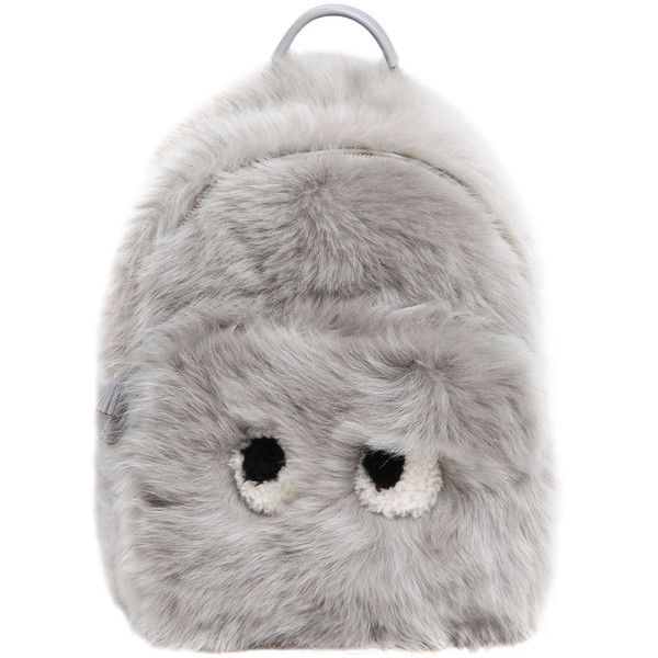 Anya Hindmarch Women Mini Eyes Shearling & Leather Backpack found on Polyvore featuring bags, backpacks, backpack, light grey, anya hindmarch, leather zip backpack, leather zipper backpack, genuine leather backpack and zipper bag