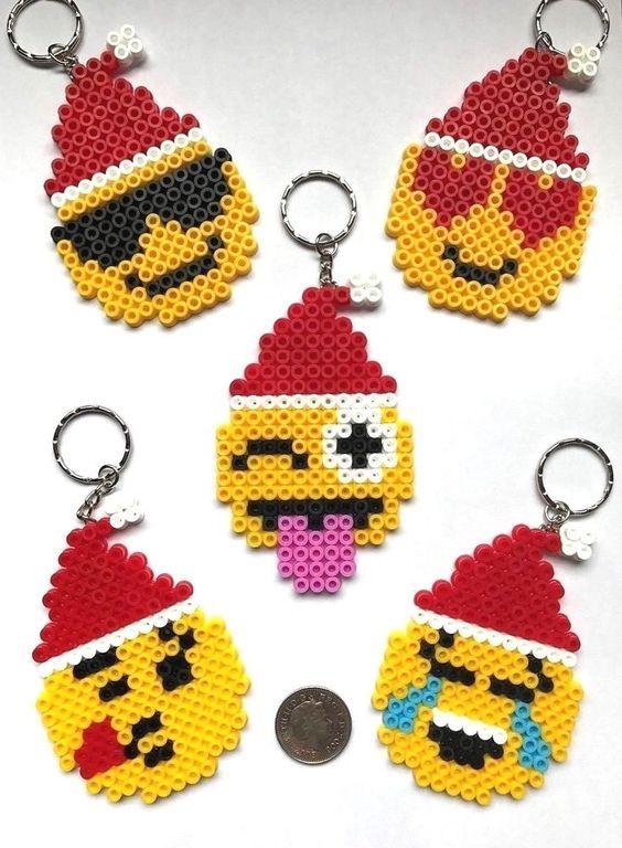 Emoji Face Christmas Santa Hat Keyrings Xmas Gift / Stocking Filler NEW UK