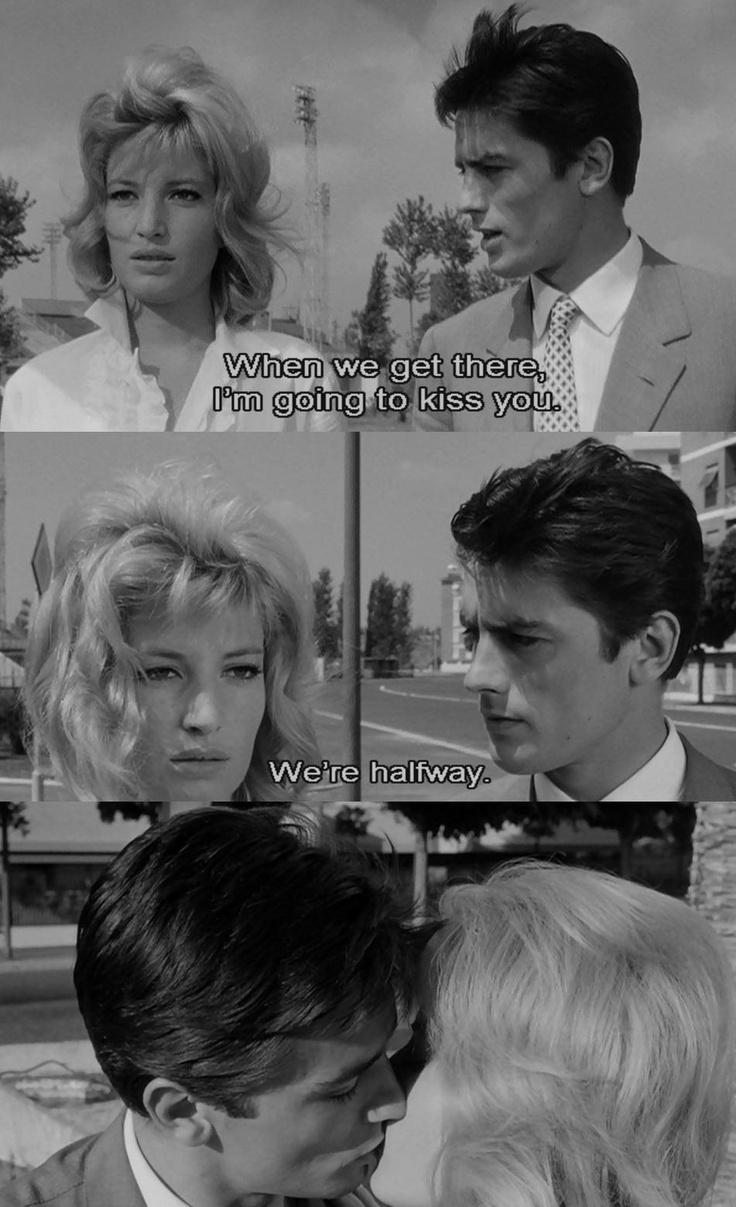 "Eclipse (L'eclisse),1962', Italian film by Michelangelo Antonioni, starring Alain Delon and Monica Vitti ""I'm going to kiss you"""