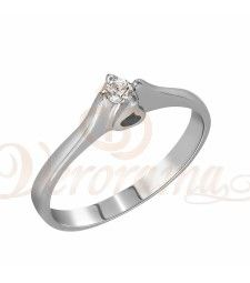 Μονόπετρo δαχτυλίδι Κ18 λευκόχρυσο με διαμάντι κοπής brilliant - MBR_002