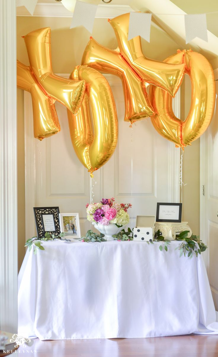 Southern Garden Party Bridal Shower Ideas- sign in table with gold foil xoxo balloons