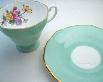 Crown Staffordshire Tea Cup and Saucer, Green tea cup and saucer set, English Bone China.