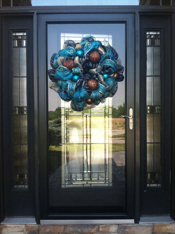 Metallic Brown and Turquoise Wreath with Glitter by DzinerDoorz, $125.00