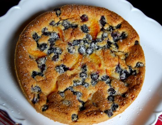 Peach and Blueberry Coffee Cake - It's in the oven now. We shall see ...