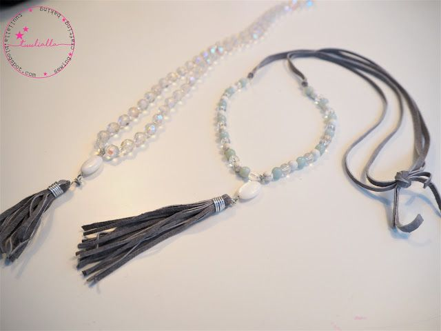 Necklace with stone and glass beads and recycled leather