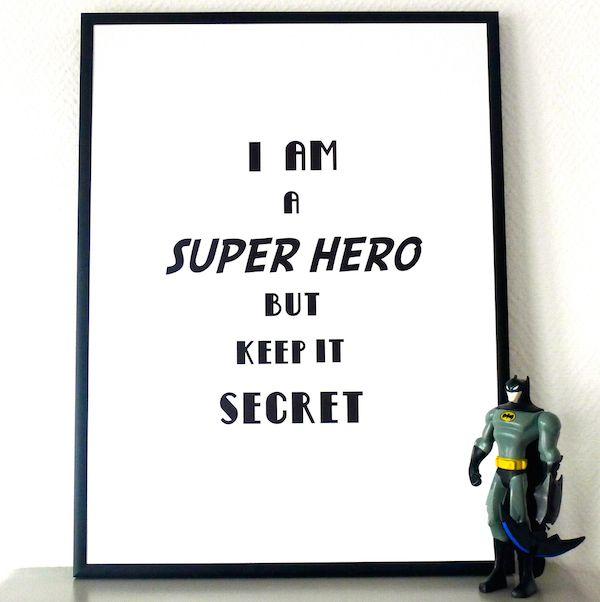 """Affiche """"I am a Super Hero"""" http://www.babayaga-magazine.com/boutique/princesse-aux-petits-pois/ #poster #kids #enfants #deco"""