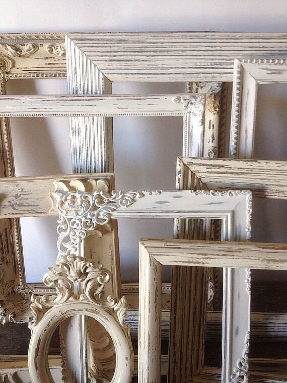Empty Picture Frames Set Of 11 Antique White Shabby Chic Wall Decor ...