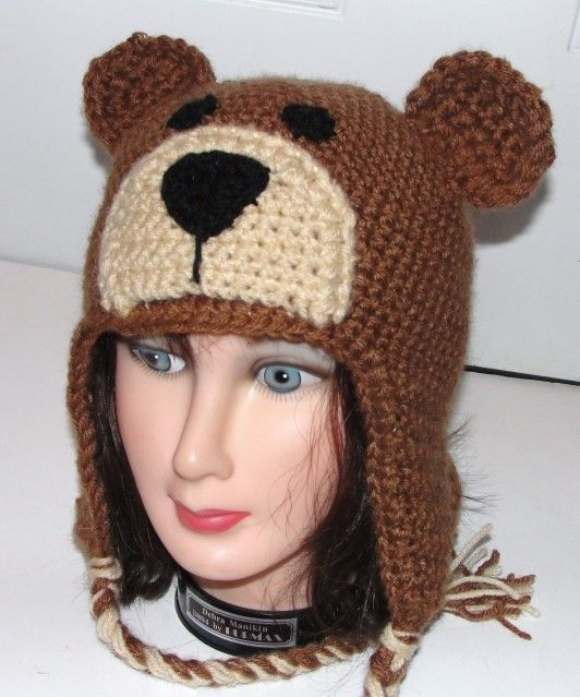 Teddy Bear Earflap Hat w/ Ties Adult Child Toddler Crochet ...