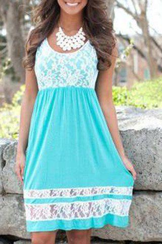 Refreshing Scoop Collar Sleeveless Color Block Lace Spliced Sundress For Women