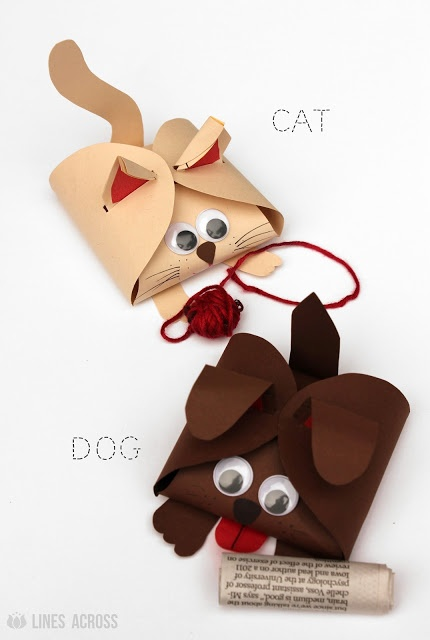 """Lines Across"": Dog and Cat Paper Gift Boxes.   Super cute!"