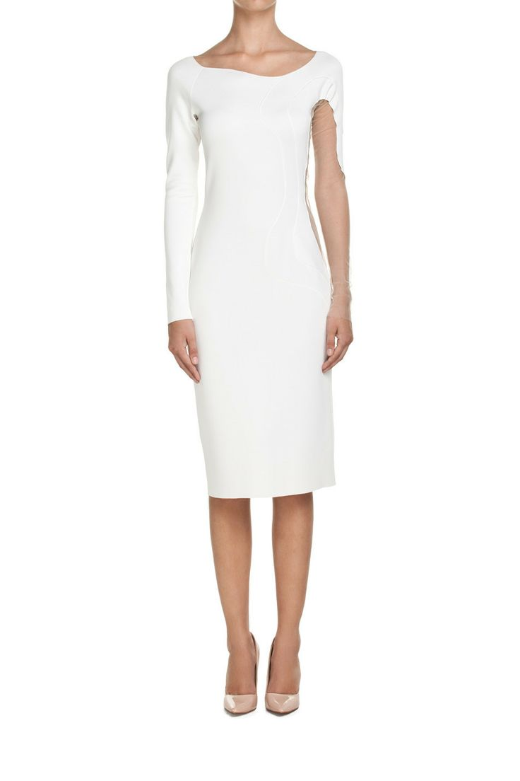 Dress with sheer insets White | Apparel \ Dresses \ Midi Apparel \ Dresses \ Evening Apparel \ Dresses \ Cocktail Apparel \ SHOP ALL DESIGNERS \ Monika Błażusiak Dresses Plus sizes | MOSTRAMI.PL