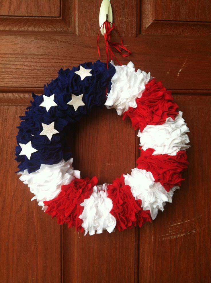 American Flag Felt Wreath #diy #wreath