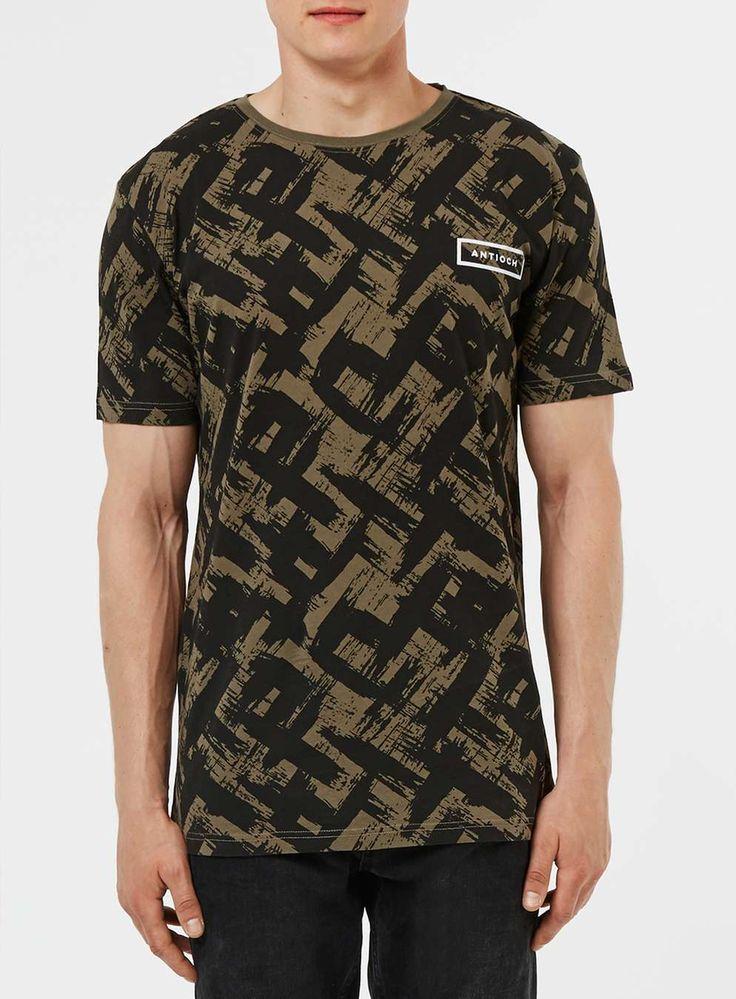 ANTIOCH Green and Black Paint Brust Stroke Print T-Shirt